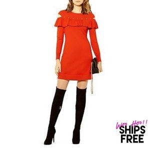 Karen Millen Ruffled Cutout Knit Mini Dress #0916